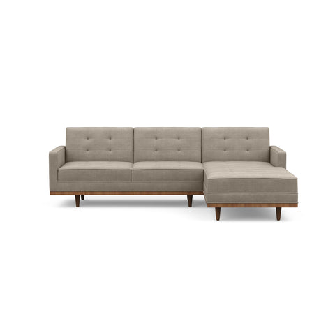 The Irving sofa chaise is mid-century inspired & beautiful in dark leather