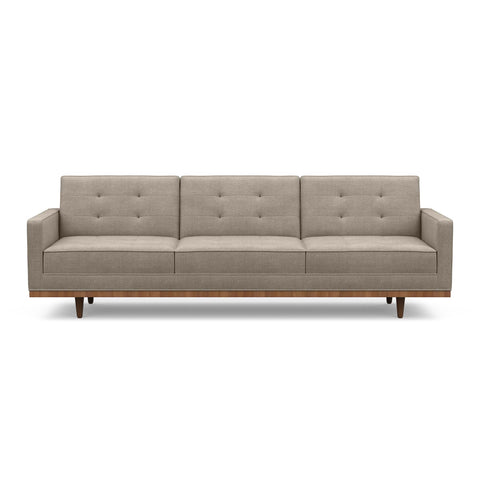 The Irving sofa is mid-century inspired & beautiful in taupe