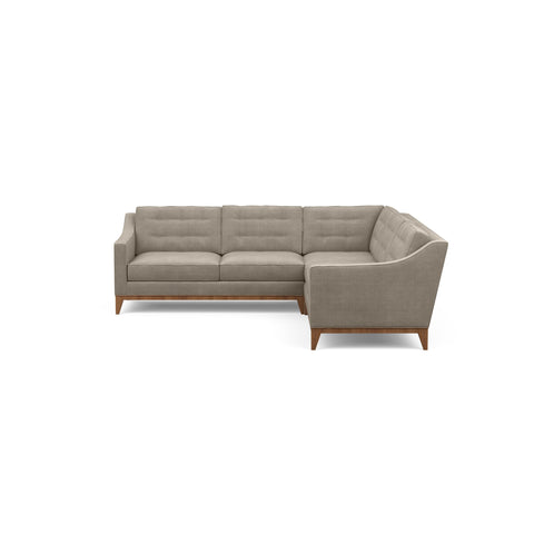 Refined traditional mid-century design is reflected in the Lawson Sofa Sectional, pictured here in taupe