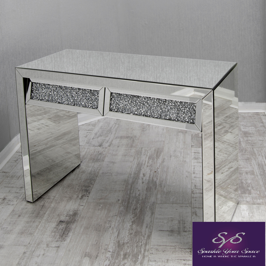Mariah Crushed Diamond Mirrored Dressing Table in Silver