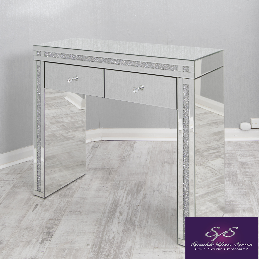 Mirrored Dressing Table Console Table In Diamond Crush