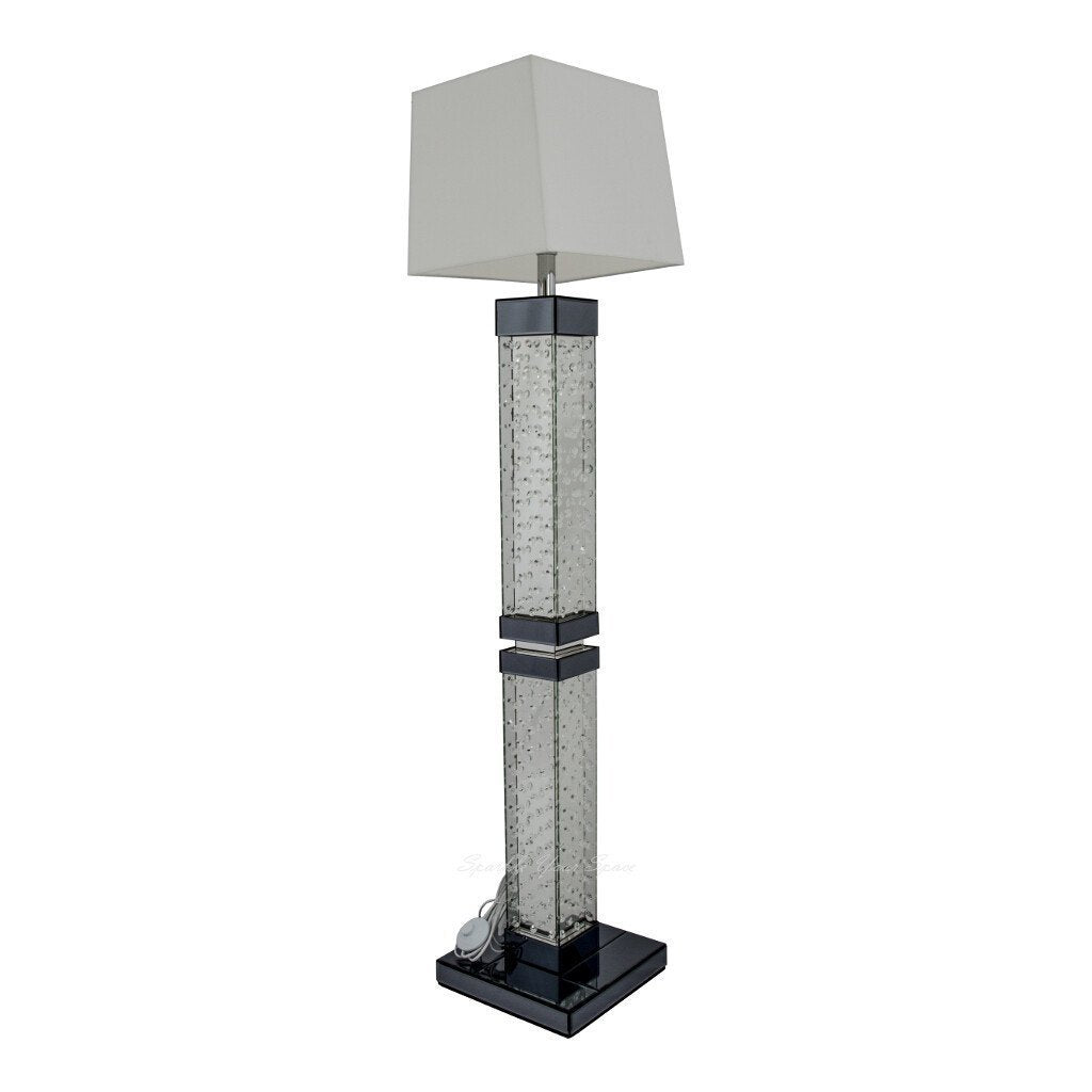 Mirrored Floor Lamp With Floating Crystal Stand – Sparkle Your Space Ltd