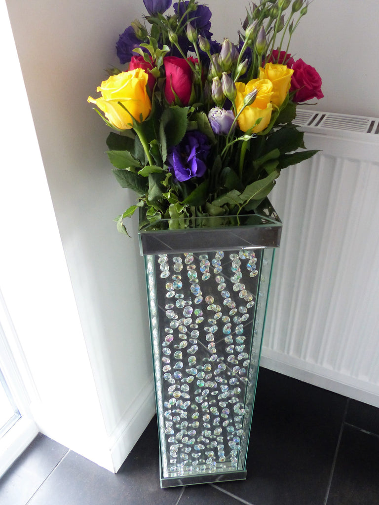 Mirrored Floor Vase With Exquisite Floating Crystal Stand