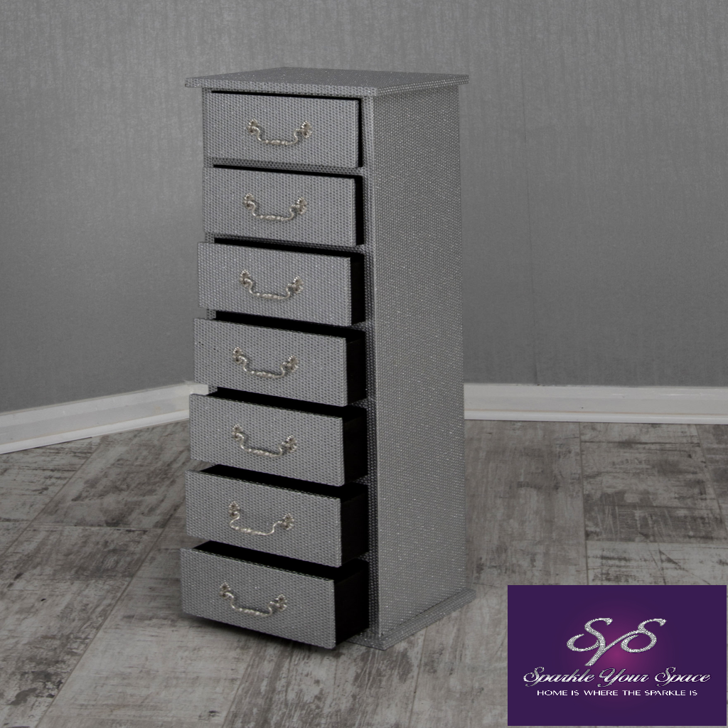 Skinny Sparkle Tall Boy Chest Of Drawers In Silver Or Black Sparkle Your Space Ltd