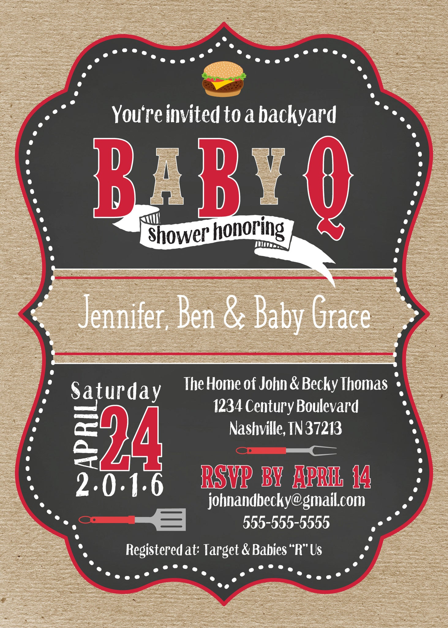 baby que shower invitations