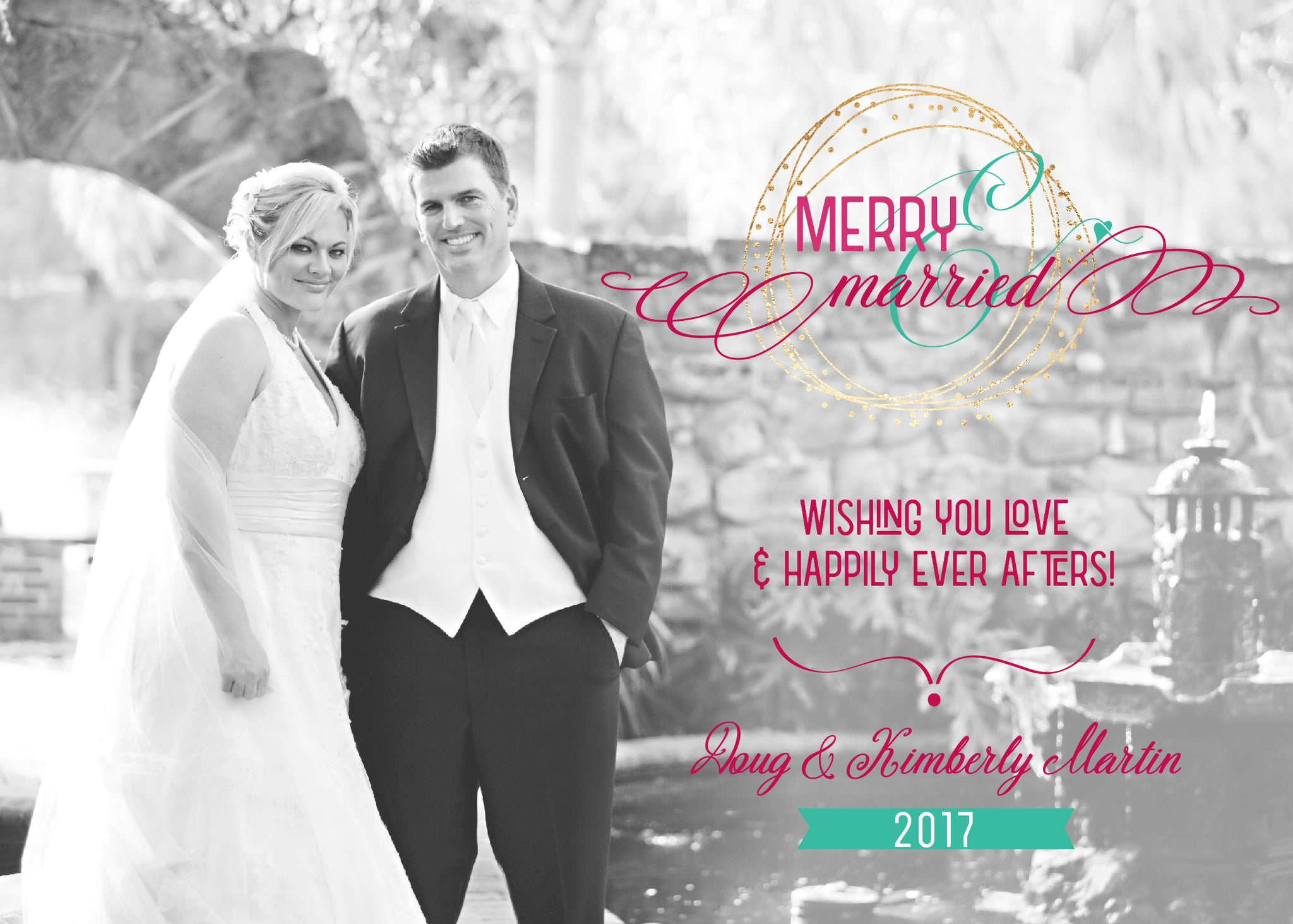 Red, White, Green, and Gold Merry Married | Personalized | Photo ...