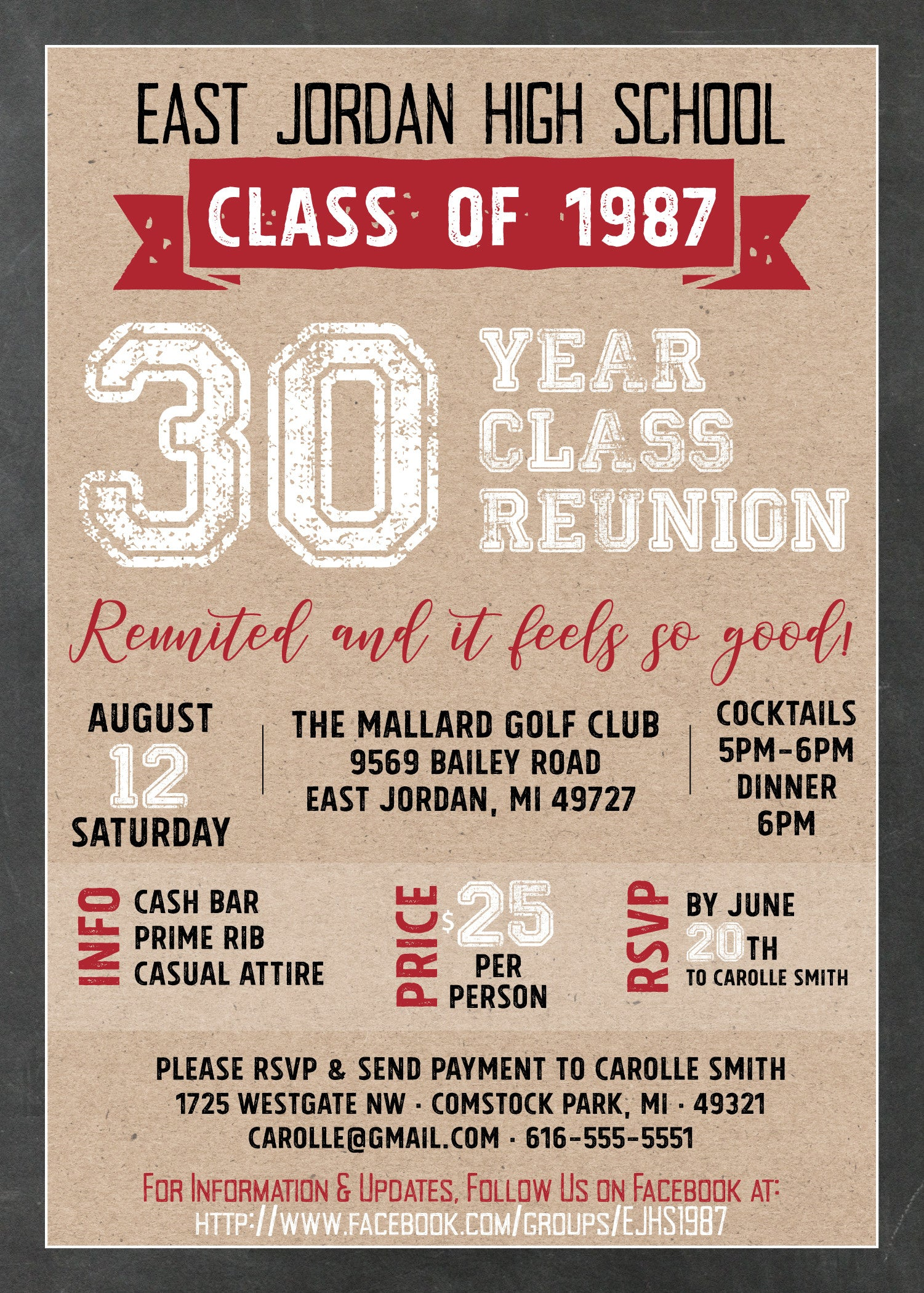 Vintage kraft chalkboard red black white class reunion vintage kraft chalkboard red black white class reunion invitation southern sociable stopboris Image collections