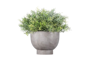 "12"" W Concrete Bowl with Grass AR1042"