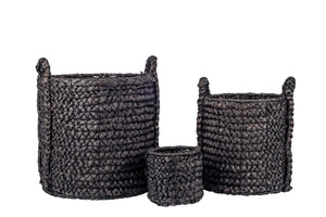 Black Water Hyacinth Basket with Handles   BS1010