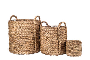 Natural Water Hyacinth Basket with Handles BS1008