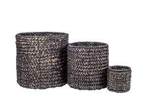 Black Washed Water Hyacinth Basket No Handles   BS1012