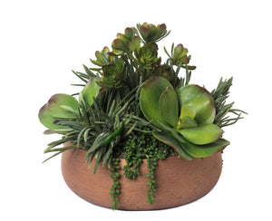 "15.25"" Bronze Bowl with Succulents Arrangement AR1095"