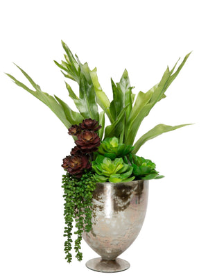 Tall Succulent Arrangement in Mercury Vase AR1182