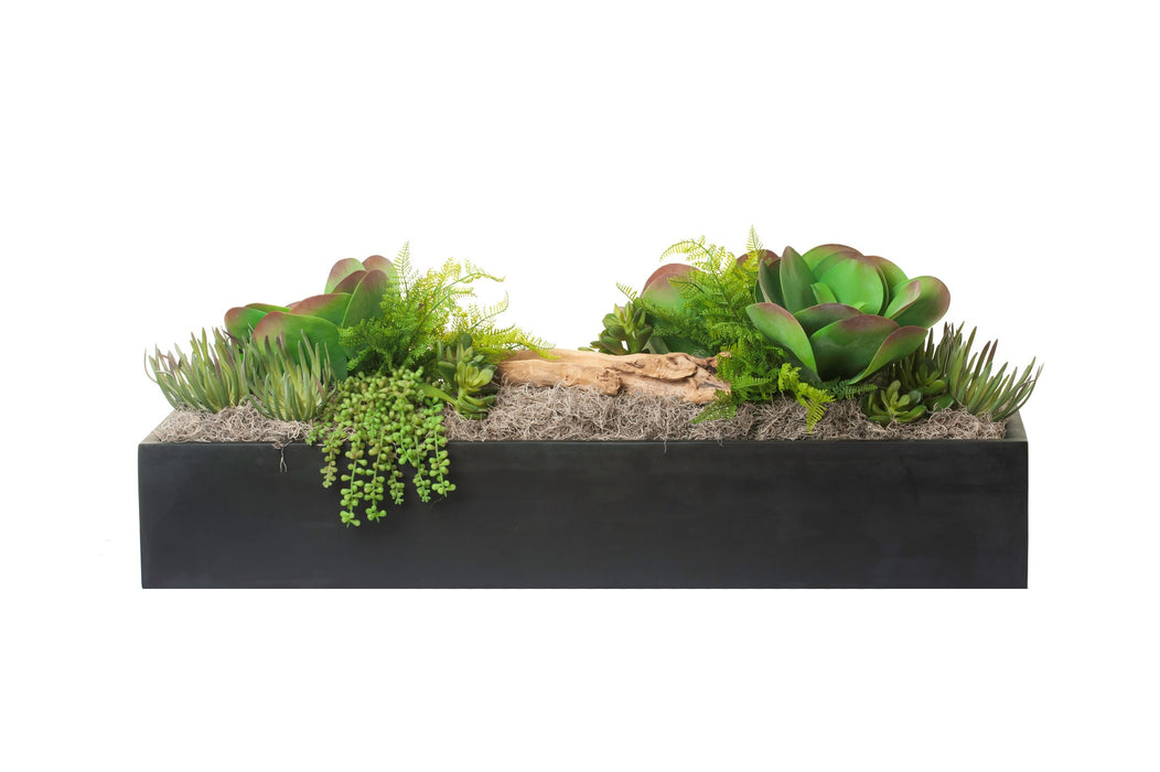 "42"" Black Manhattan Table Top Planter with Succulent Arrangement AR1278"