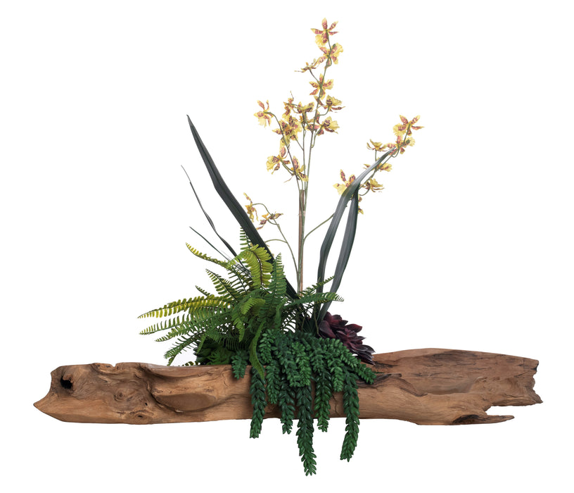 "36"" Kapal Trough with Yellow Orchids AR1298"