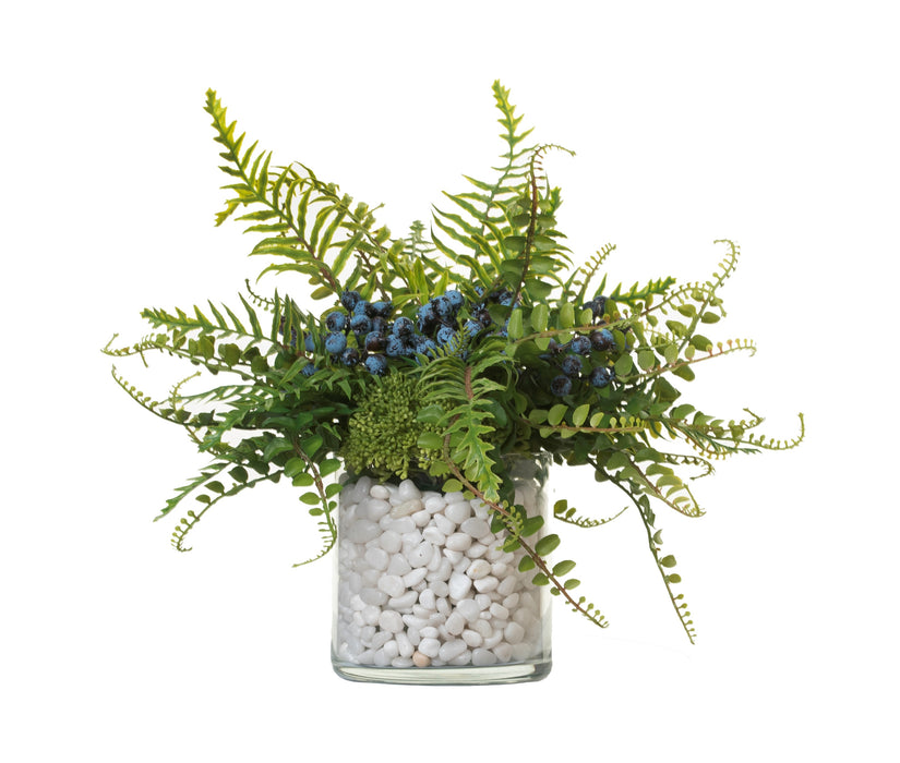 "6"" Mazzy Vase With Blueberry Fern Arrangment AR1322"