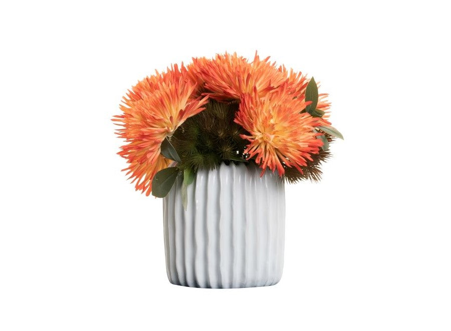 "5"" Haven Pot with Orange Curled Mums Floral Arrangement   AR1395"