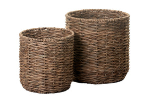 Twist Weave Water Hyacinth Basket No Handles- Natural    BS1014