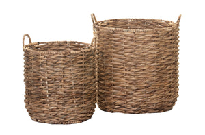 Twist Weave Water Hyacinth Basket with Handles- Natural     BS1016