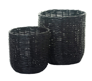 Whole Rattan Basket-Black    BS1019