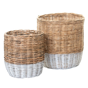 Natural Whole Rattan Basket with White Dipped Bottom   BS1020