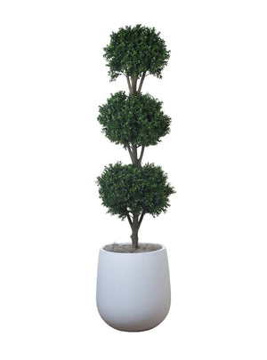 "5' Triple Ball Topiary in 19.5"" White Abby Planter PC1120WHAB"