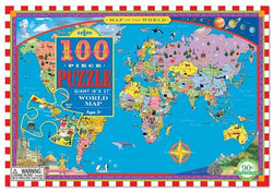 Eeboo Map of the World Puzzle - 100pc