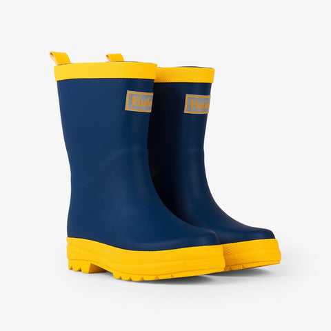 Hatley Rainboots - Navy and Yellow Matte