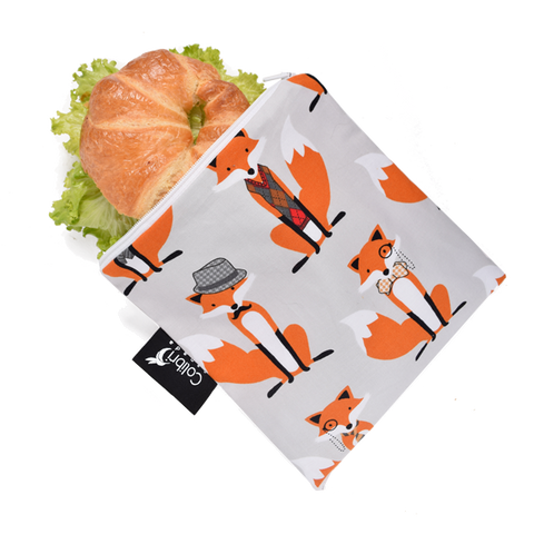 Colibri Canada Reusable Large Snack Bag - Foxes