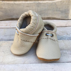Wullyz Leather Baby Slippers - Beige