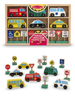 M&D Wooden Vehicles and Signs Playset