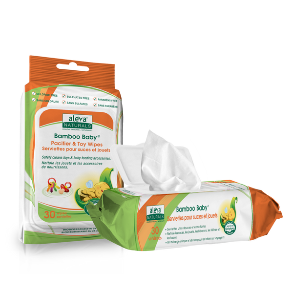 Aleva Naturals Bamboo Baby Wipes - Toy and Pacifier