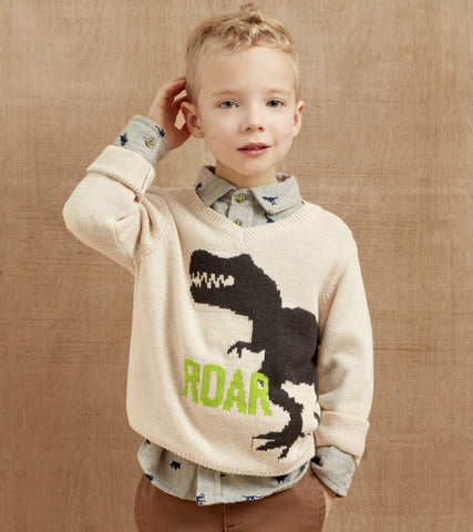 Hatley Dino V-Neck Sweater