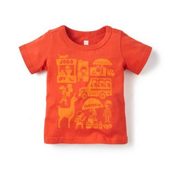 Tea Collection Pequeno Mercado Graphic Tee - Fiery Red