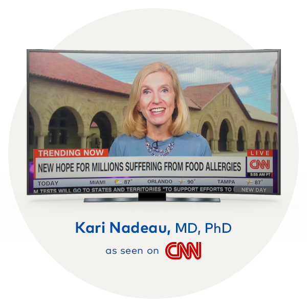 image of our founder Dr. Kari Nadeau on a TV screen being featured on CNN