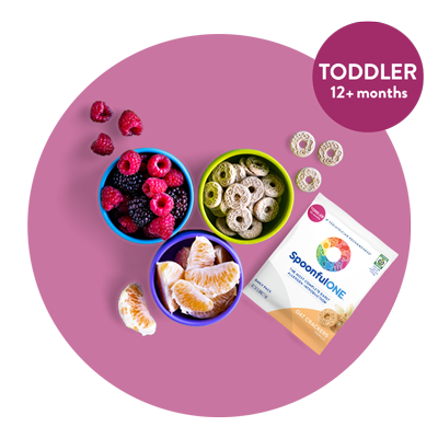 a pink circle graphic with spoonfulone vanilla oat crackers along with a small blue bowl of berries and orange slices. There is also a circle overlay that says TODDLER 12+ months. This image links to the oat crackers product page.
