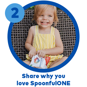 Step 2, share why you love SpoonfulOne. Image: mom and little girl sitting together. The little girl is holding a packet of SpoonfulOne and wearing a red beanie.