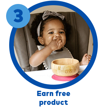Step 3, Earn Free Product. Image: little girl in colorful dress eating SpoonfulONE Oat Crackers