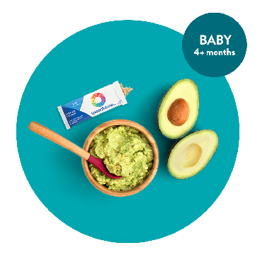 teal circle graphic with a bowl of guacamole, an. avocado split in half and a packet of mix-ins. There's an overlay circles that says BABY 4+ months. This image is clickable to the mix-ins product page.