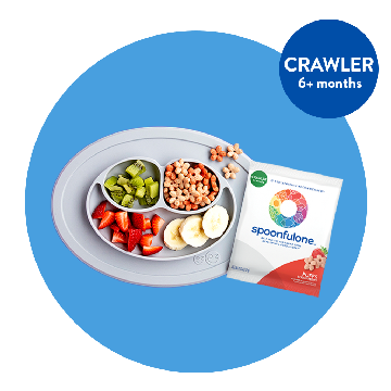 blue circle graphic with spoonfulone strawberry puffs and assorted fruits in a grey tray. There's also a circle overlay that says CRAWLER 6+ months. Clicking this. image takes the user to the puffs product page.