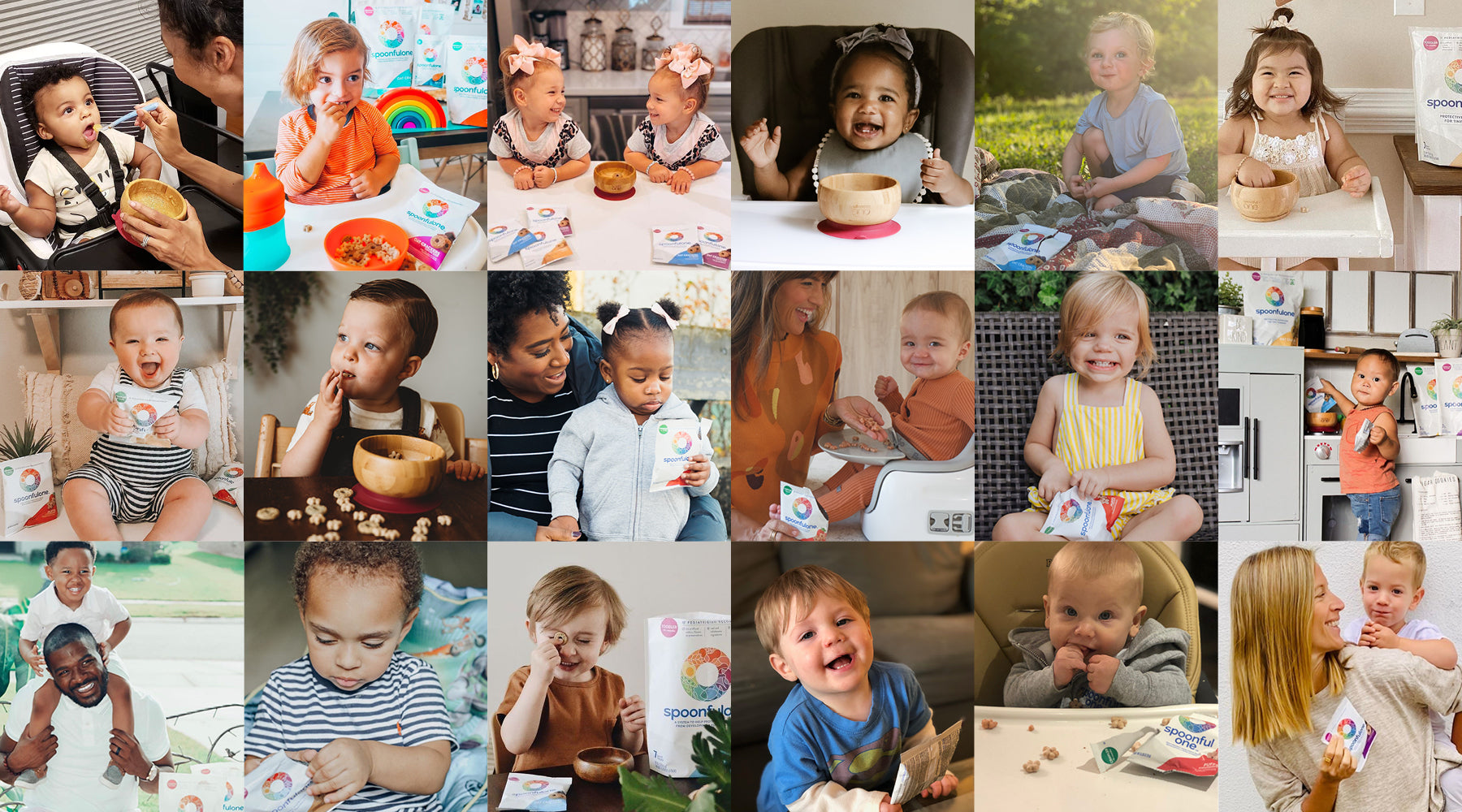 grid of spoonfulone influencer babies