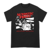Agnostic Front American Hardcore Statue design, screenprinted in white and red on a black Gildan Apparel tee.