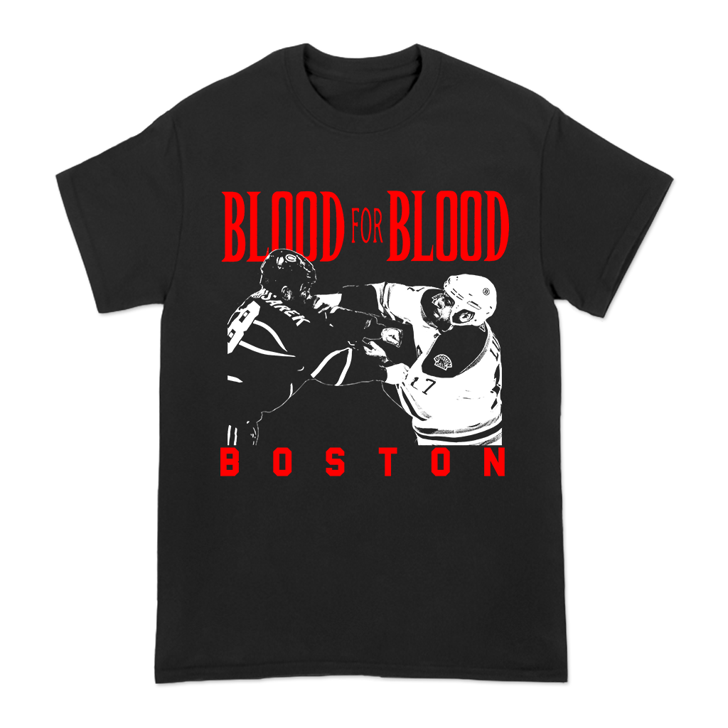 Blood for Blood Brawl design printed on a black Gildan Apparel tee.