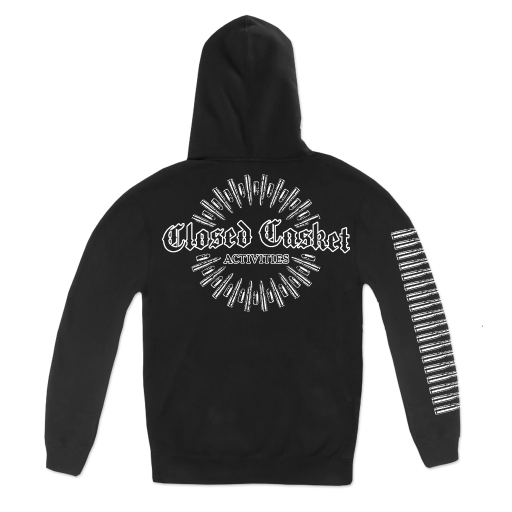 Closed Casket Activities Bullet Logo, printed on front, back, and sleeve in white on a black Champion Pull Hood.