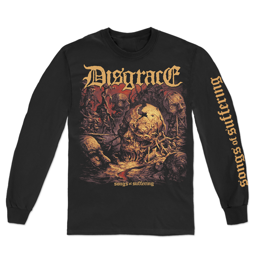 "Closed Casket Activities Disgrace ""Songs Of Suffering"" album design, printed on a black longsleeve."