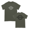 Closed Casket Activities Invert Logo, printed on Military Green Alstyle Apparel tees.