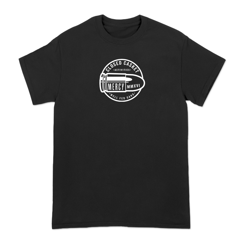 Closed Casket Activities Well Fed design printed on a black tee.