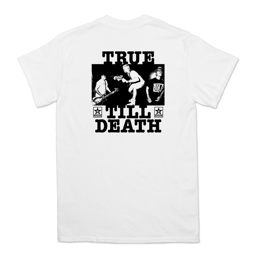 "Chain Of Strength ""True Till Death"" design, printed on front and back of a white Gildan Apparel tee.  Tee features include 5.3 oz., 100% preshrunk cotton; classic fit; seamless double needle 7/8"" collar; taped neck and shoulders; double needle sleeve and bottom hems; quarter-turned to eliminate center crease; and a tearaway label."
