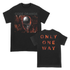 "Code Orange ""One Way"" design, printed on front and back of a black Gildan Apparel tee."