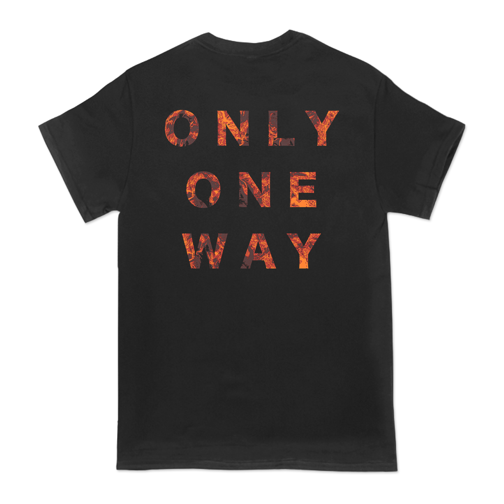 Code Orange One Way design printed on a black tee.